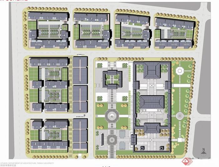現代中式商業街建筑規劃效果圖[原創]