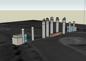 现代风格多种景观柱设计SU(草图大师)模型