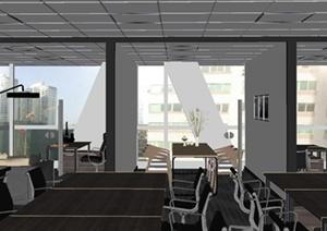 现代高档办公室室内装饰设计SU(草图大师)模型