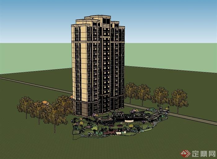 某新古典详细小高层住宅建筑楼设计su模型[原创]图片