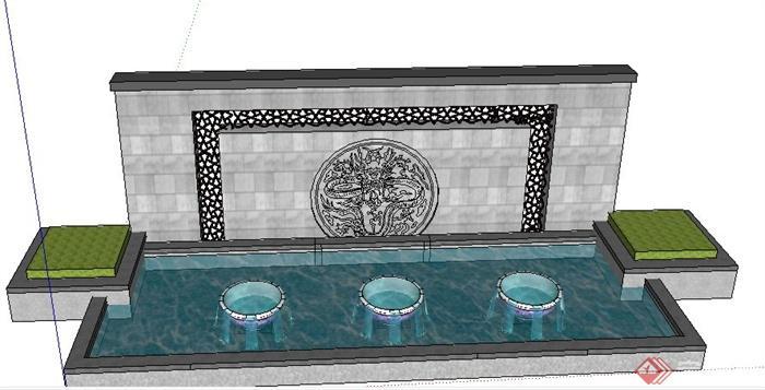 中式景墙及跌水池su模型[原创]图片