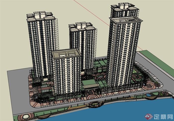 欧式高层商业住宅小区楼建筑设计su模型[原创]