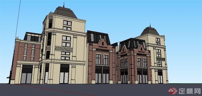欧式风格商场商业楼建筑设计su模型[原创]