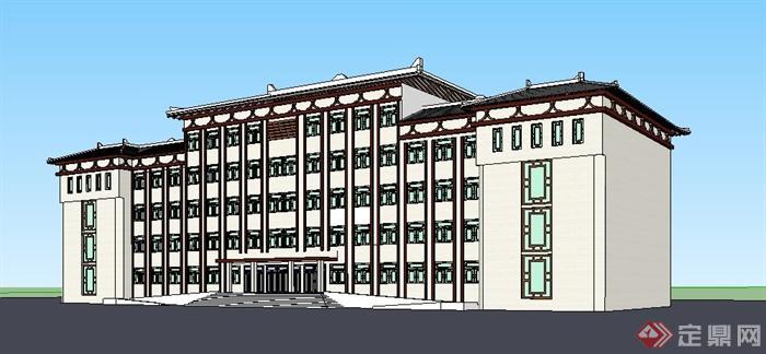 新中式五层办公楼建筑设计su模型[原创]室内设计材料商业图片