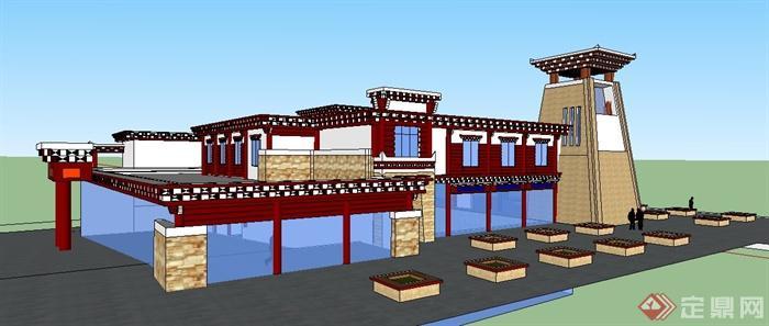 藏式风格碉楼建筑设计su模型[原创]图片