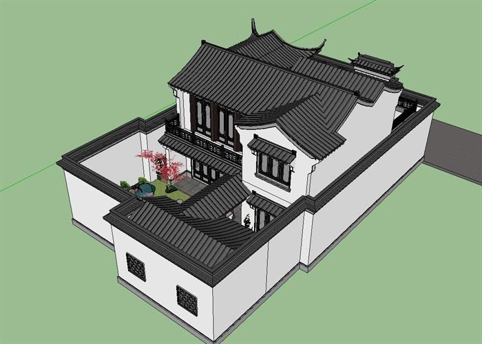 现代中式风格一套精致仿古小别墅建筑su设计模型[原创]图片