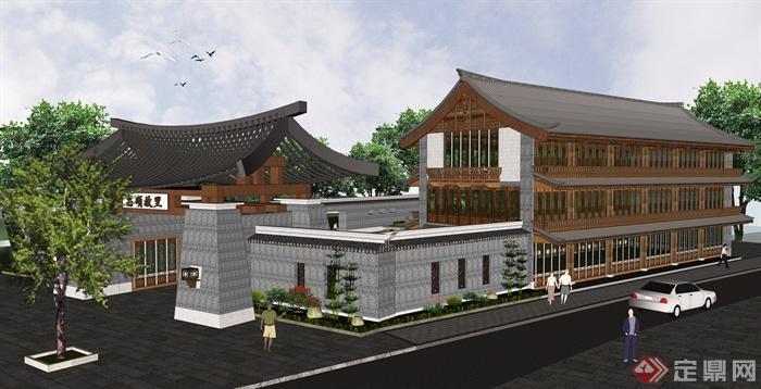 仿古会所,民宿,接待中心建筑设计su模型[原创]