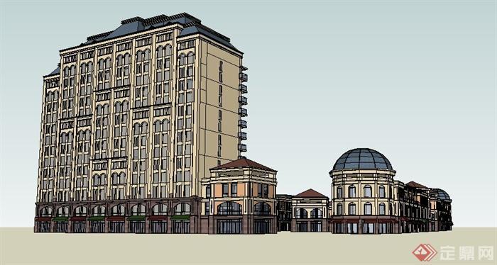 欧式风格多层商业街及小高层办公楼建筑设计su模型[原创]