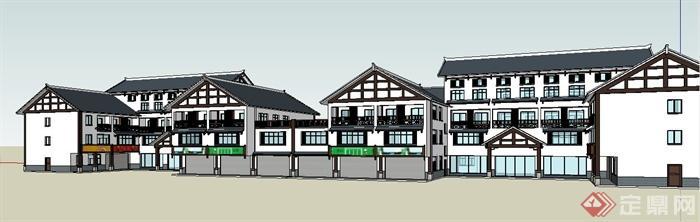 中式风格多层组合办公楼建筑设计su模型[原创]