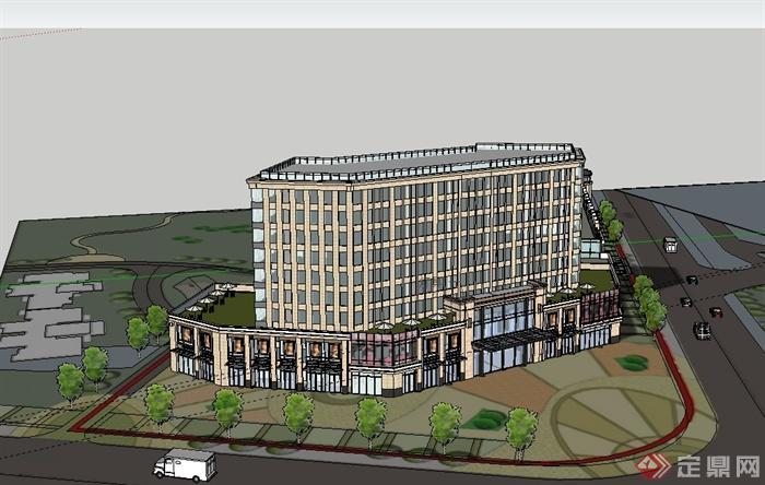 现代风格详细多层商业综合体住宅楼有什么可以免费领红包su模型[原创]