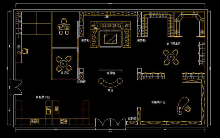 某现代风格商业建材店室内cad平面图