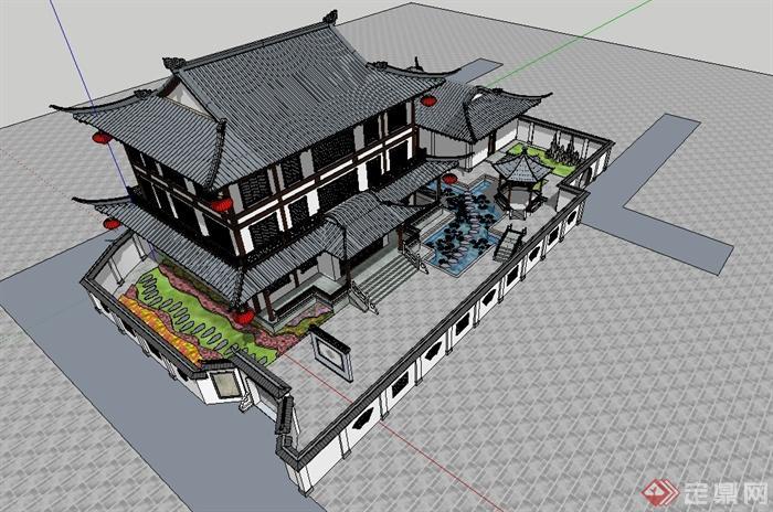 某古典中式模型风格建筑设计su别墅cad图纸及钝化标注图纸图片