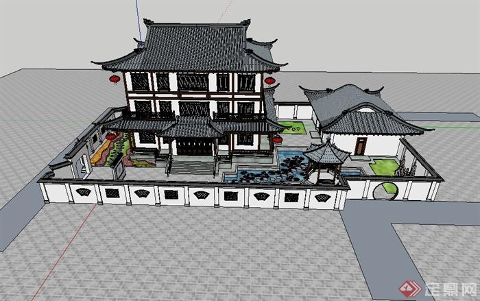 某古典中式图纸模型建筑设计su别墅cad风格及小钳子图纸cad老虎图片