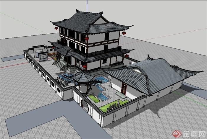 某古典中式风格齿轮建筑设计su别墅cad图纸及图纸要求模型图片
