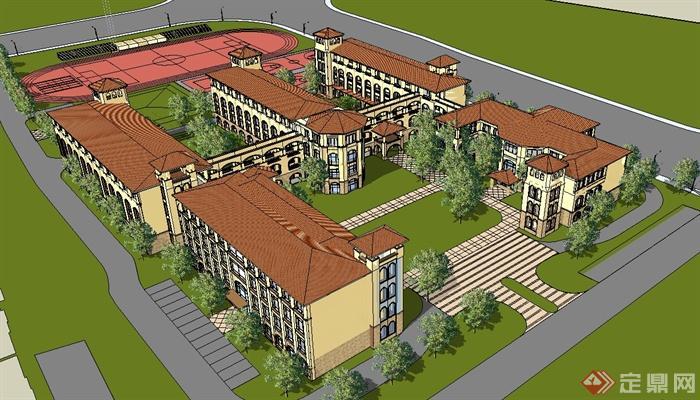 欧式风格学校建筑详细设计su模型[原创]