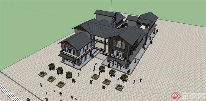 某精美现代中式风格商场建筑设计su模型[原创]