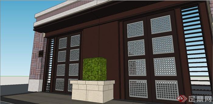 某现代中式风格别墅大门设计su模型[原创]