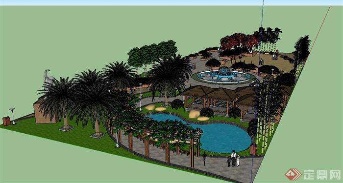 某现代风格详细街心花园景观设计su模型[原创]