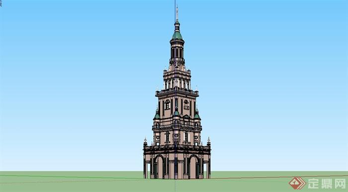 某精美欧式风格塔楼建筑设计su模型[原创]
