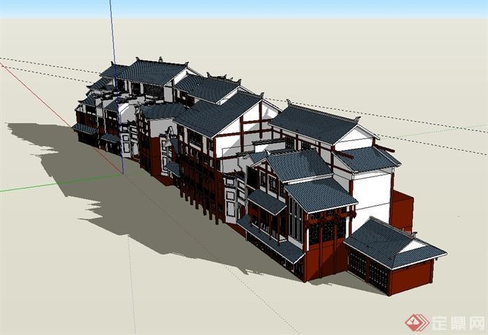 某现代中式风格古城商业建筑设计su模型[原创]