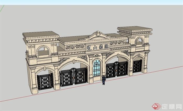 某欧式风格小区入口详细大门设计su模型[原创]
