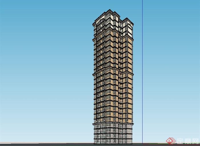 某欧式风格高层详细住宅楼设计su模型[原创]
