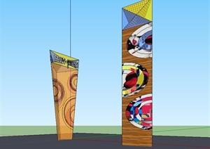现代风格标志景观柱子设计SU(草图大师)模型
