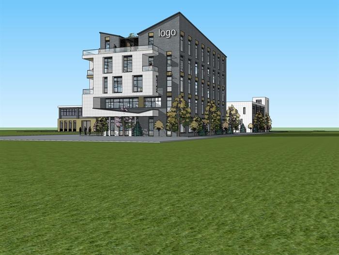 现代风格办公楼坡屋面屋顶花园建筑设计su模型[原创]
