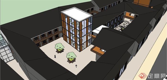 某简约新中式风格商业街建筑设计su模型(6)图片