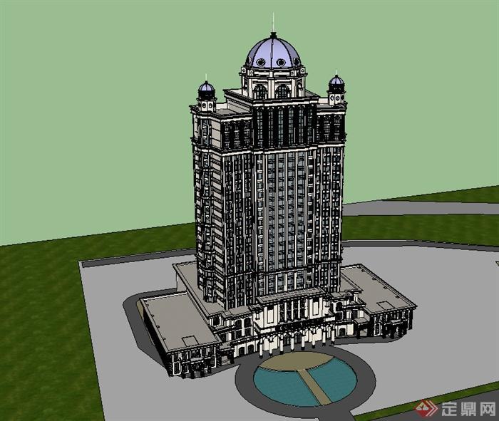 某欧式风格高层详细酒店建筑设计su模型[原创]