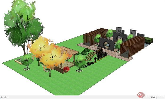 某现代中式风格中庭庭院花园设计su模型[原创]