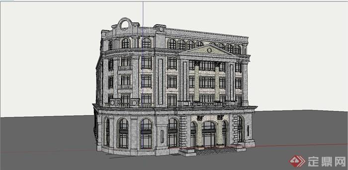 某复古欧式风格商业街建筑设计su模型[原创]