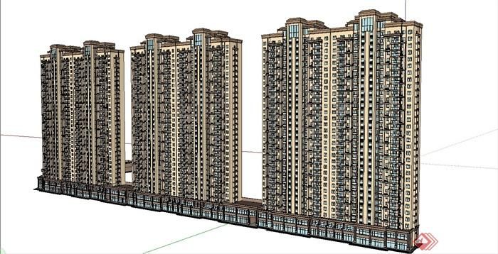 某简约欧式风格高层商住楼建筑设计su模型[原创]