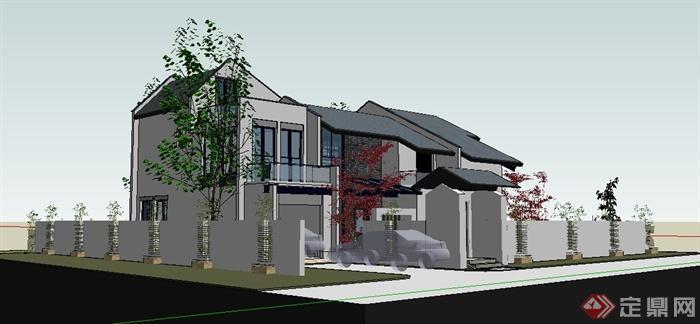簡約新中式二層庭院別墅建筑設計su模型(1)