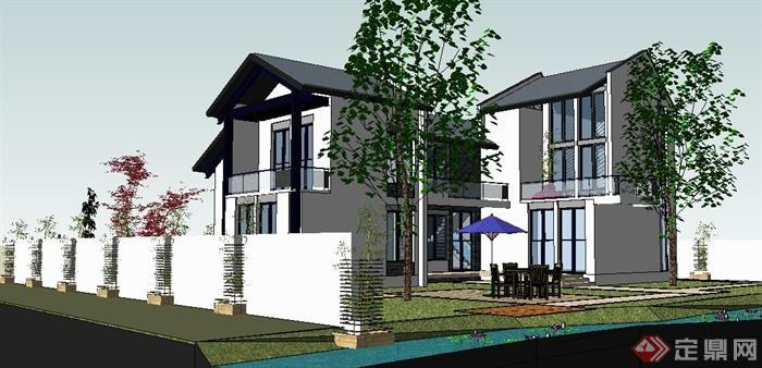 簡約新中式二層庭院別墅建筑設計su模型(3)