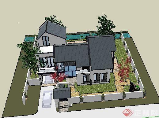 簡約新中式二層庭院別墅建筑設計su模型(4)