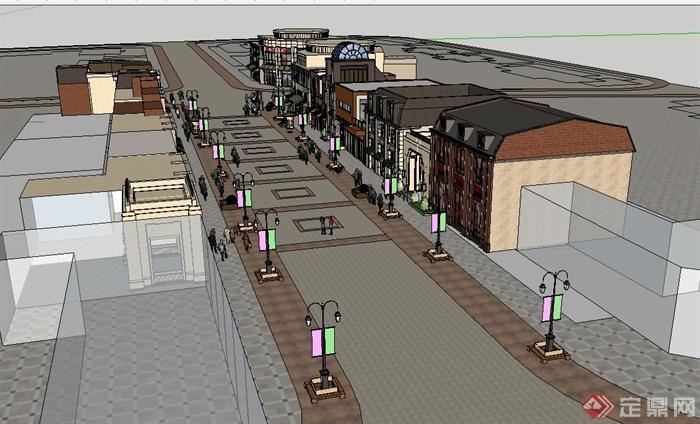 某欧式风格详细多层商业街建筑楼设计su模型[原创]