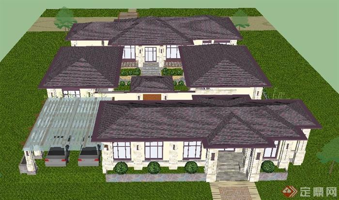 现代中式单层拼接别墅建筑设计su模型[原创]