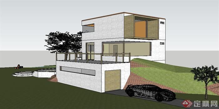 简约三层小别墅建筑设计su模型图片