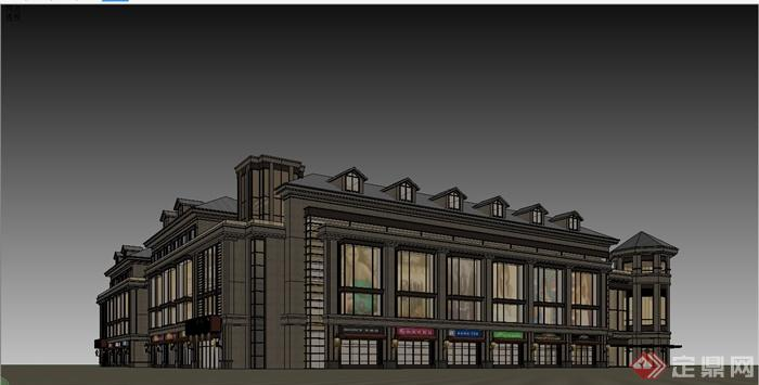 某精细欧式风格商业街建筑设计su模型[原创]