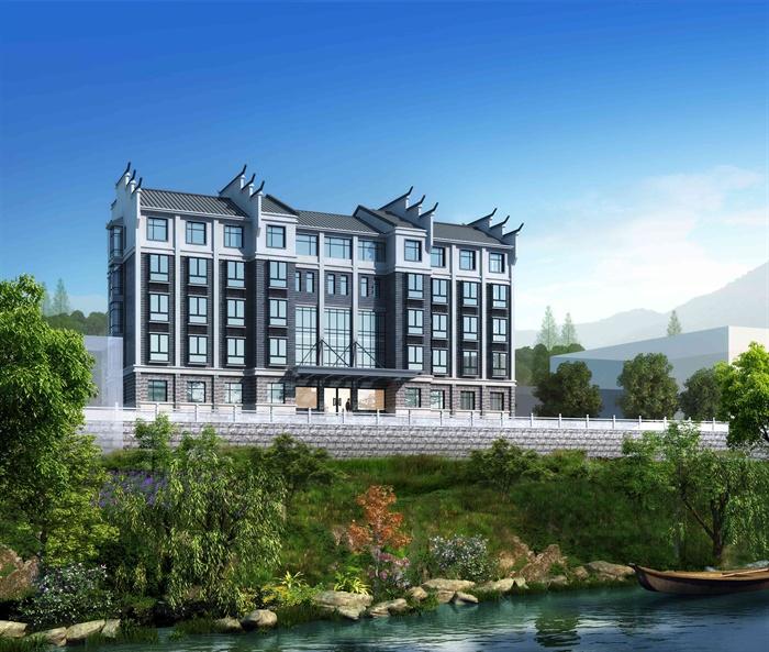 现代中式服务中心小民房建筑楼设计3d模型及cad方案