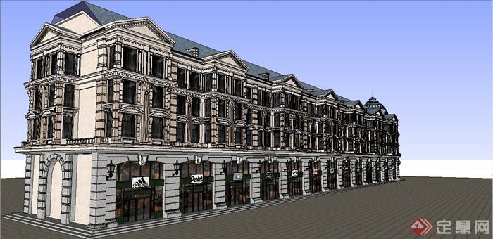 某欧式风格多层商业住宅楼建筑设计su模型[原创]