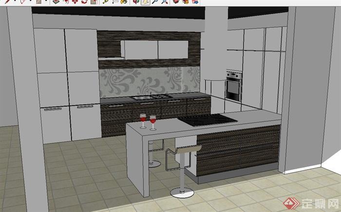 现代风格简单厨房设计su模型(1)