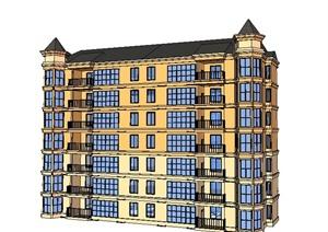 欧式七层公寓住宅建筑设计SU(草图大师)模型-设计素材下载