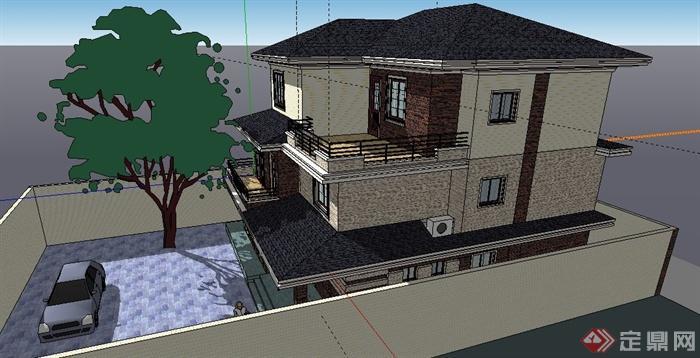 混搭风格三层小别墅建筑设计su模型图片
