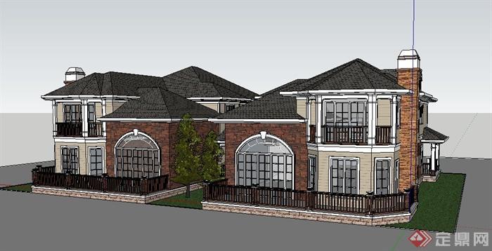 新古典二层连体别墅住宅建筑设计su模型[原创]