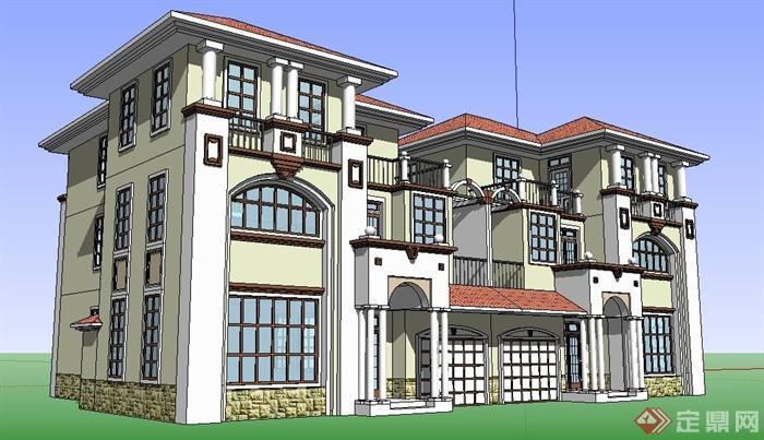 欧式风格双拼三层别墅建筑单体设计su模型[原创]