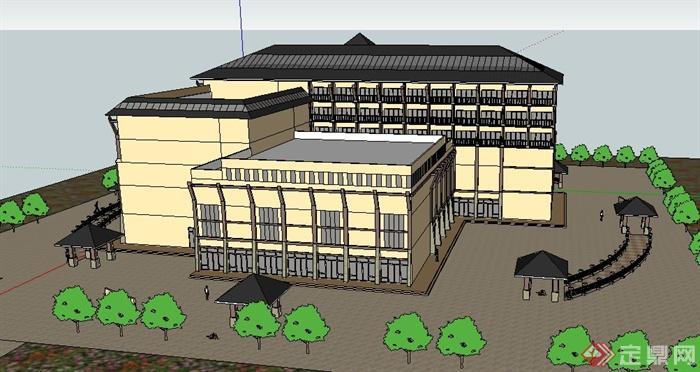 中式多层办公楼建筑物设计su模型[原创]