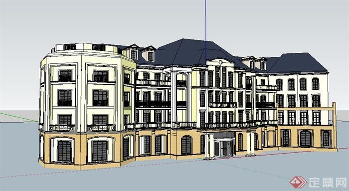 欧式四层办公楼原创立面v模型su模型[建筑]水滴怎么设计图图片