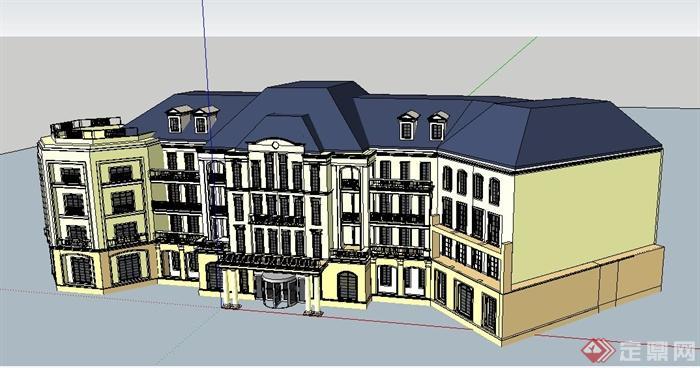欧式四层办公楼原创立面设计su模型[建筑]之永建筑设计工作室图片